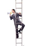 Businessman climbing  ladder isolated on white Royalty Free Stock Photos