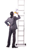 Businessman climbing  ladder isolated on white Royalty Free Stock Image