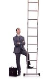 Businessman climbing  ladder isolated on white Royalty Free Stock Images
