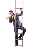 Businessman climbing  ladder isolated on white Stock Images