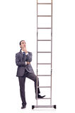 Businessman climbing  ladder isolated on white Stock Photo
