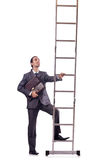 Businessman climbing the ladder isolated on white Stock Photography