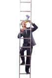 Businessman climbing the ladder isolated on white Royalty Free Stock Photo