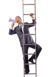 Businessman climbing the ladder isolated on white Royalty Free Stock Photos