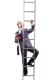 Businessman climbing the ladder isolated on white Stock Images