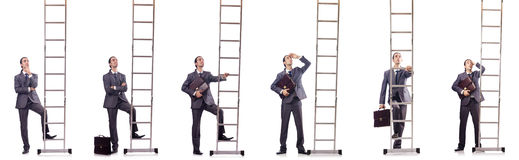 The businessman climbing the ladder isolated on white Stock Photo