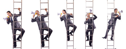 The businessman climbing the ladder isolated on white Royalty Free Stock Photo