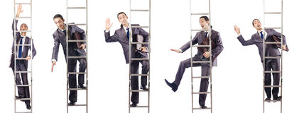 The businessman climbing the ladder isolated on white. Businessman climbing the ladder isolated on white Royalty Free Stock Photography
