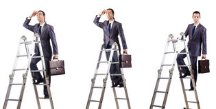 The businessman climbing the ladder isolated on white. Businessman climbing the ladder isolated on white Royalty Free Stock Photos