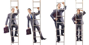 The businessman climbing the ladder isolated on white. Businessman climbing the ladder isolated on white Stock Images