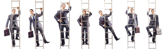 The businessman climbing the ladder isolated on white. Businessman climbing the ladder isolated on white Stock Photography