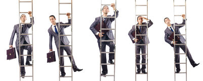The businessman climbing the ladder isolated on white. Businessman climbing the ladder isolated on white Royalty Free Stock Image