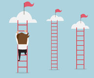 Businessman climbing the ladder Royalty Free Stock Image