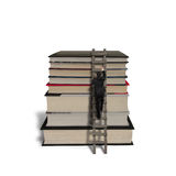 Businessman climbing on ladder to reach top of stack books Stock Photos