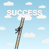 Businessman climbing ladder to Success Stock Images