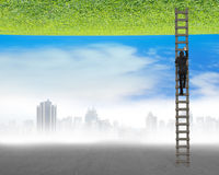 Businessman climbing on ladder between two inverted world. With gray cityscape and clean natural sky grass Royalty Free Stock Photos