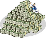 Businessman climbing on money mountain Royalty Free Stock Photography