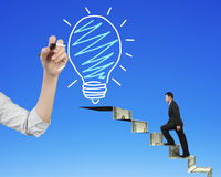 Businessman climbing money stairs toward light bulb hand drawing Royalty Free Stock Photo