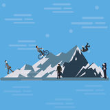 Businessman climbing mountain hill up tothe top business challenge ahead Stock Image