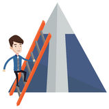 Businessman climbing on mountain. Stock Images