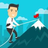 Businessman climbing mountain peak vector cartoon flat illustration. Royalty Free Stock Images