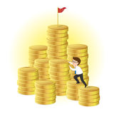Businessman climbing a pile of gold coins. Business Concept, cartoon character, vector Stock Image