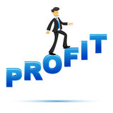 Businessman climbing on profit text Stock Image