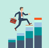 Businessman climbing rising stock to success vector concept. Bus Stock Images