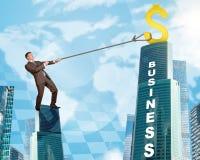 Businessman climbing skyscraper with world map Royalty Free Stock Photos