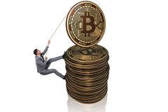 The businessman climbing the stack of bitcoins. Businessman climbing the stack of bitcoins Royalty Free Stock Photography