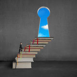 Businessman climbing on stack books to key shape door Royalty Free Stock Images