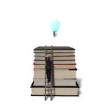 Businessman climbing on stack books with wooden ladder and growi Stock Photo
