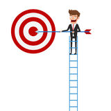 Businessman climbing stair and holding arrow pointing to target and success. Stair step to success. Cartoon Vector Illustration Royalty Free Stock Photography