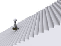 Businessman is climbing stairs. 3d businessman is tired of climbing stairs Royalty Free Stock Photography