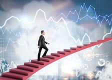 Businessman climbing stairs in city, infographics