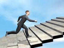 Businessman climbing stairs - 3D render. Businessman running to climb stairs by beautiful day Stock Photos