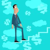 Businessman climbing stairs of Success Royalty Free Stock Images