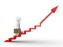 Businessman climbing stairs of success. 3d businessman is climbing a graphic chart with stairs Stock Photos