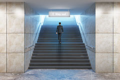 Businessman climbing success stairs Stock Image