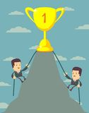 Businessman is climbing to get the prize . Businessman is climbing to get the prize , Successful man , Business concept - vector illustration Stock Photo