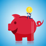 Businessman climbing to the top of giant piggy bank and putting gold coin to save money. Saving money concept. Cartoon Vector Illustration Royalty Free Stock Images
