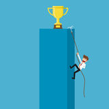 Businessman climbing to trophy and success. Stock Images