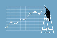 Businessman climbing up on a ladder to adjust an uptrend graph chart on a wall. Stock Images