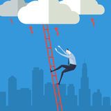 Businessman climbing up a ladder to cloud. Royalty Free Stock Image