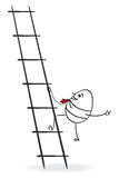 Cartoon businessman climbing up. Success in bussiness stock illustration