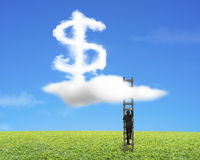 Businessman climbing wood ladder with dollar sign shape cloud Stock Image