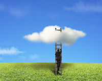Businessman climbing on wooden ladder to reach cloud. With green meadow and blue sky stock image