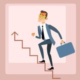 Businessman climbs growing schedule. The business concept of career growth vector illustration