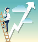 A businessman climbs ladders symbol for startup illustration.  Stock Photos