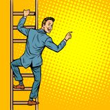 Businessman climbs stairs, man points to copy space. Pop art retro vector illustration vintage kitsch stock illustration
